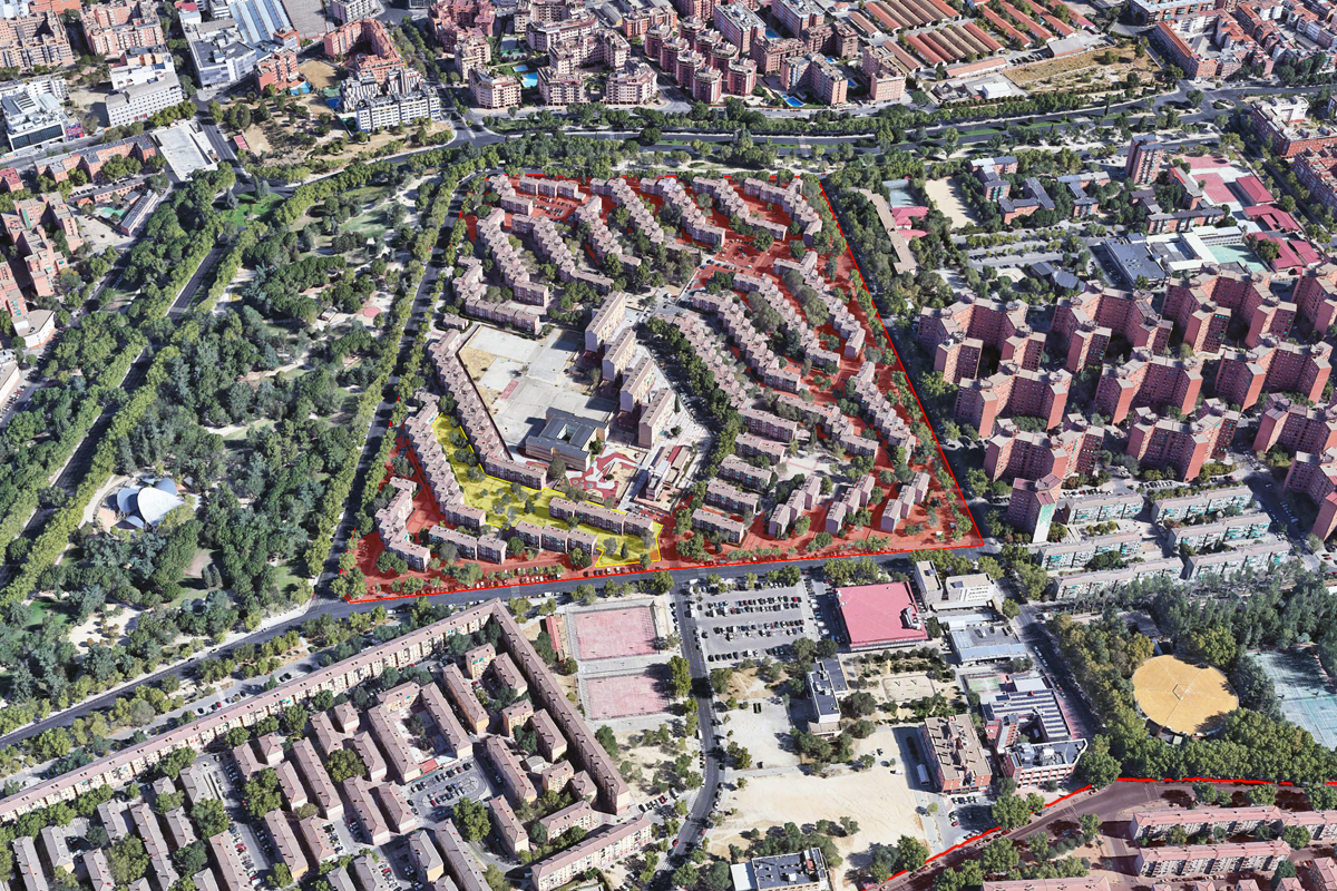 Plot in a marginal district with a dense, open-block design in a central inter-block position on plot G, Gran San Blas
